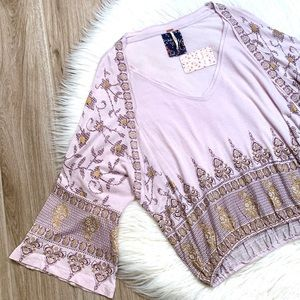 Free People Medallion Print Top Lilac Size XS